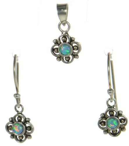 Antique Finish Solid 925 Sterling Silver Blue Opal Earrings /& Small Pendant Set.