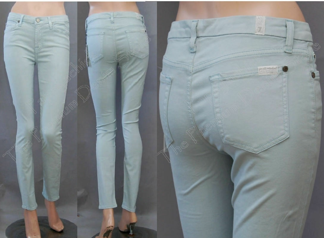 179 NWT 7 SEVEN FOR ALL MANKIND JEANS SKINNY CONTOUR SATEEN LIGHT MINT SZ 26