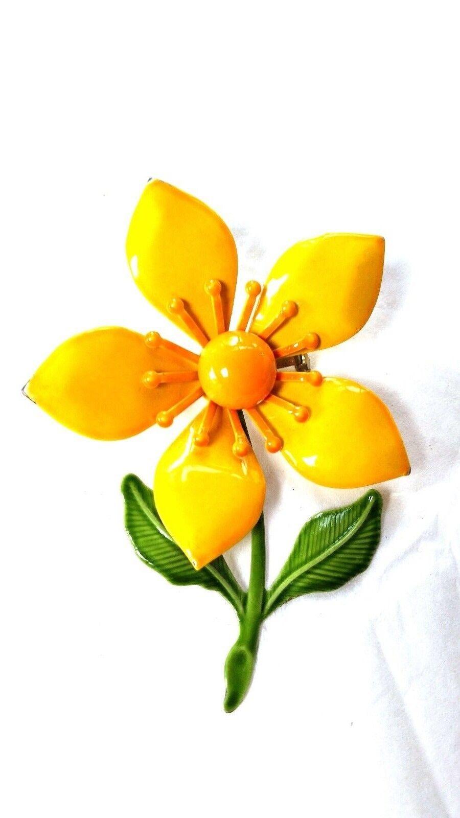 Enamel Flower Pin Vintage Flower Power Brooch Yellow Green