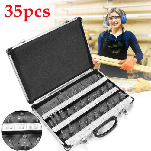"Router Bit 35 pc Set 1//4/"" Shank Tungsten Carbide Tip Woodworking Router Bit Set"
