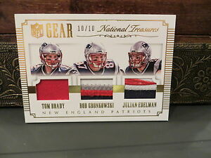 half off 4bb3d 4a8a6 Details about National Treasures NFL Gear Jersey Patriots Brady Gronkowski  Edelman 10/10 2015