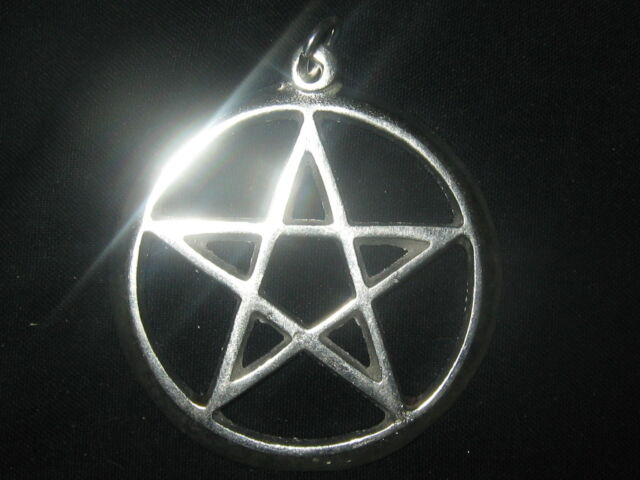 Large Silver Tone 40 Mm Pagan Pentagram Wiccan 5 Pointed Star