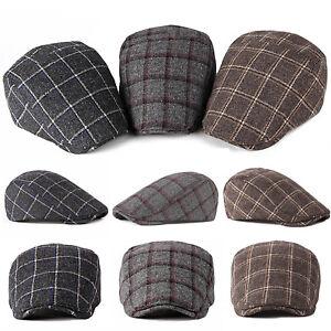 Mens Cabbie Newsboy  amp  Ascot Ivy Hat Cap Wool Plaid Gatsby Golf ... 6c5ba06cfb0a