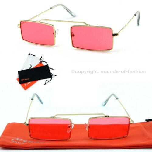 Schmale Rechteckige Micro Sonnenbrille Damen Herren Rosa Rot Gold Schwarz RT1