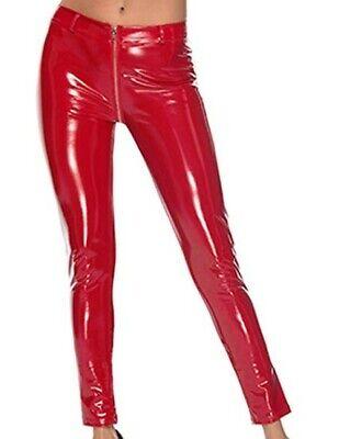 Black KouCla Latex Look Leggings With Back Crotch Zip Shiny Leather Look Pants
