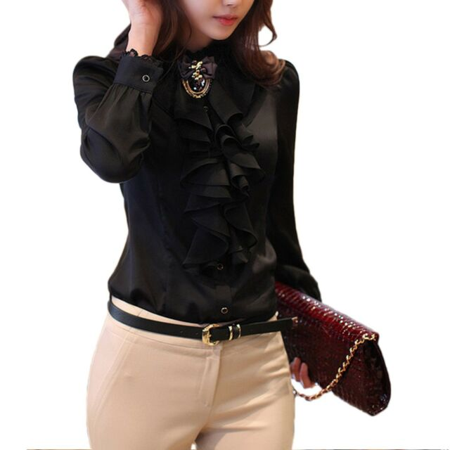 1d4bdd7f8bf128 Party Office Satin Blouse Hippie Womens Silky Shirt Ladies Collar ...