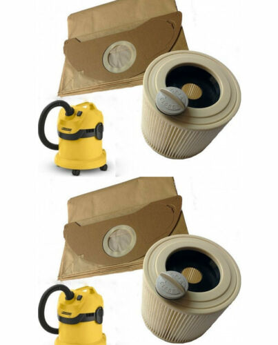 2 x FILTER & 10 DUST BAGS for KARCHER WD2.200 WD3.500 Wet & Dry Vacuum Cleaner