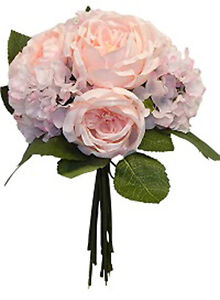 Light Pink Cabbage Rose Hydrangea Bouquet Silk Wedding Flowers