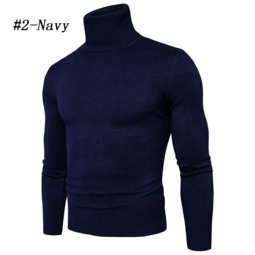 US Men High Neck Polo Turtleneck Cotton Pull Over Sweaters Stretch Jumpers M-2XL