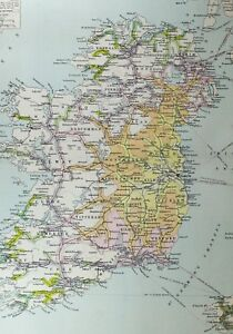 Large Map Of Ireland.Details About 1921 Large Map Ireland Railway Time Distance Zones Mayo Tipperary Wicklow Dublin