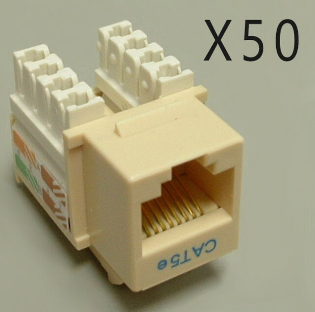 25 Pack Lot CAT5e RJ45 110 Punch Down Keystone Modular Snap-In Jacks Ivory