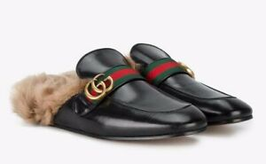 Gucci Mens Princetown Black Leather GG
