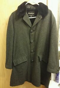 STRATOJAC HEAVY TWEED gray & black Coat Men's unisex size 40 Full Lining 1963