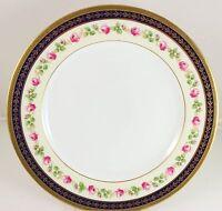 DINNER PLATE SPODE COPELAND CHINA R5185 COBALT BLUE RAISED GOLD PINK ROSE WHITE