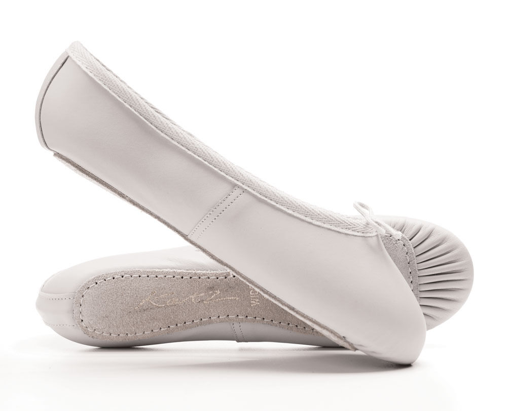 White Leather Full Sole Ballet Shoes Childs Adults All Sizes By Katz Dancewear