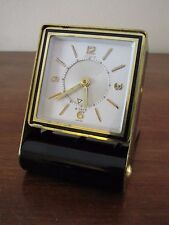Vintage JAEGER LECOULTRE Memovox 8 Day Alarm Clock Black & Gold  ~Just Serviced