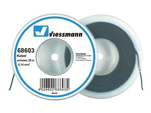 Viessmann-68603-Cable-Sur-Bobine-de-Deroulage-0-14-MM-Noir-25-M-Neuf