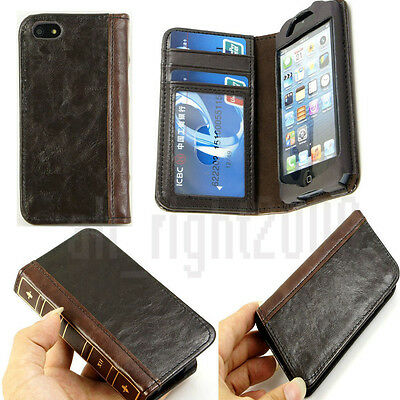 Vintage retro Old BOOK Style Leather Card Case Cover Wallet for iPhone 4 4s 5 5s