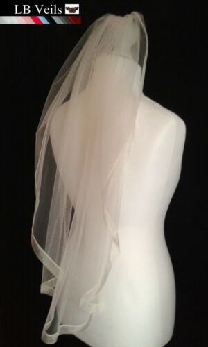Champagne Ribbon Edge 1 Tier Veil Any Length Wedding Organza Long LBV183 LBVeils