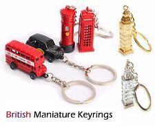 Set of 6 BRITISH MINIATURE LONDON SOUVENIR KEY RING Metal Gift Diecast Key chain