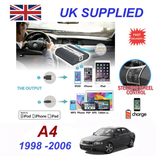For Audi A4 iPhone 5 6 7 8 SE 10 mp3 Aux Digital Audio CD Changer Module 8 pin