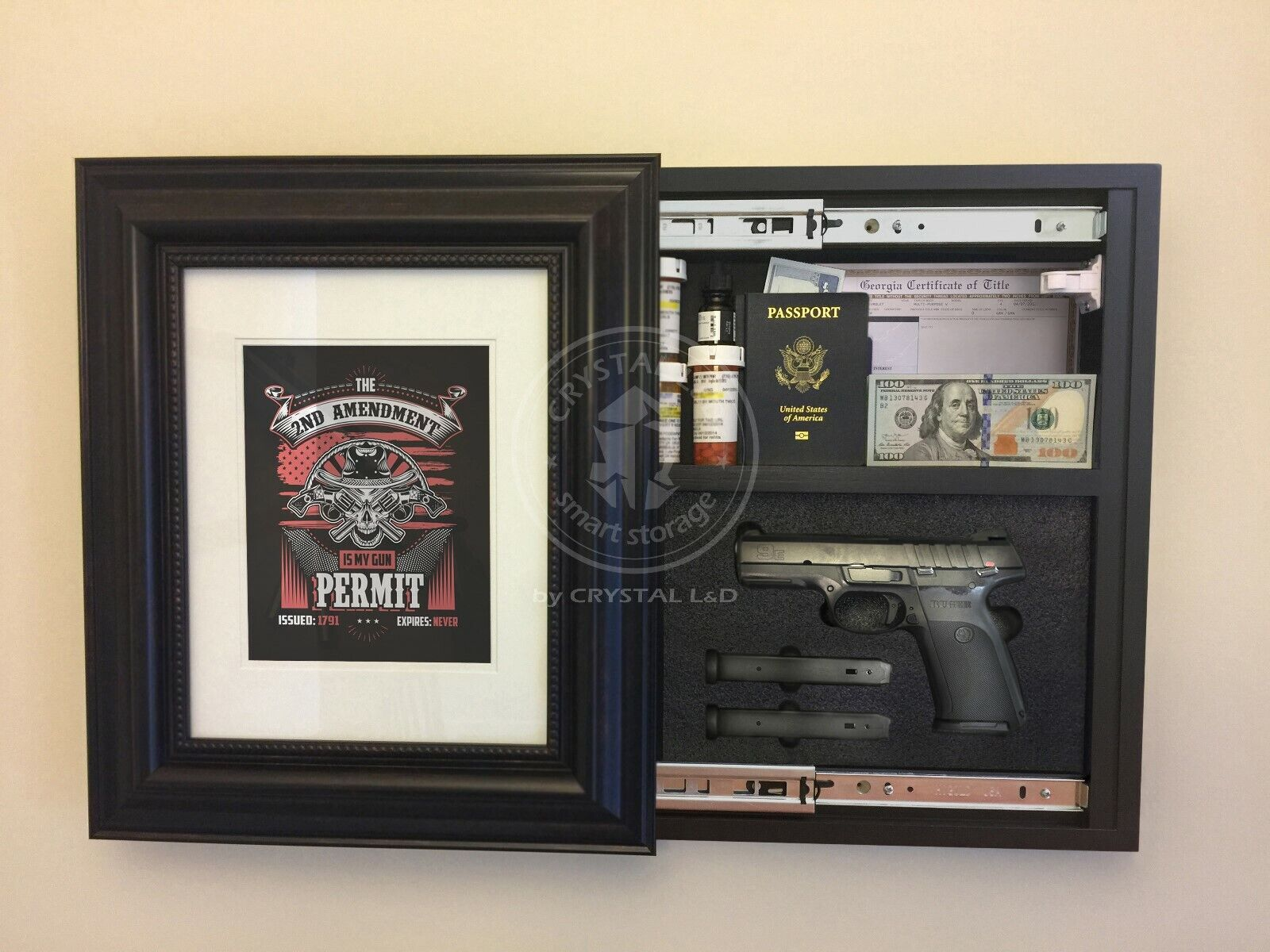 Marco de fotos de almacenamiento oculto para pistola y objetos de valor 20 in (approx. 50.80 cm) X 17 in (approx. 43.18 cm) Cerradura Magnética