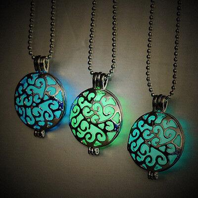 Unique Womens Fairy Round Hollow Magic Locket Glow In The Dark Pendant Necklace