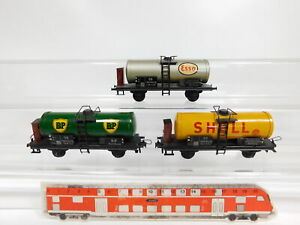CG34-0-5-3x-Trix-Express-H0-DC-20-78-Wagen-DB-Esso-Shell-BP-Maengel-defekt