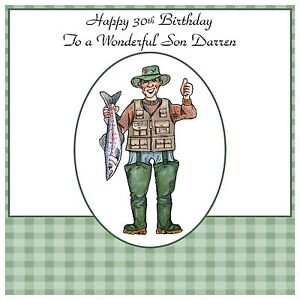 Image Is Loading Mens Male Handmade Personalised Birthday Card Fish Funny