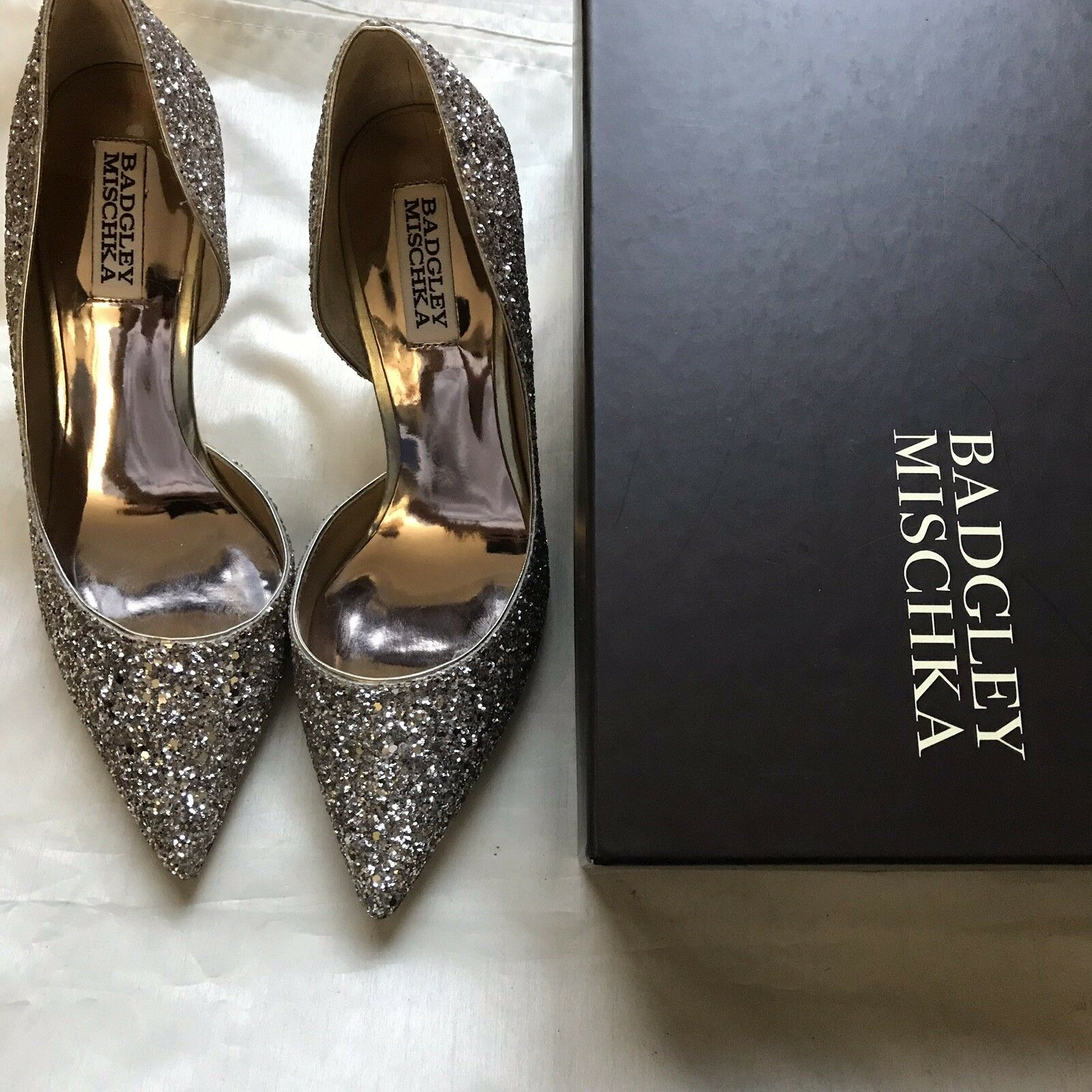 BADGLEY MISCHKA Daisy Glitter High Heel scarpe Dimensione 7.5