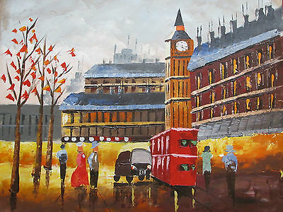 Colrful old London England large oil painting canvas contemporary art original