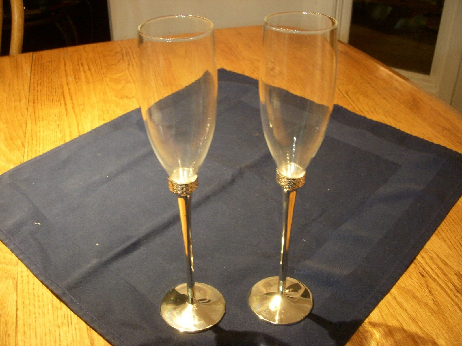 Beautiful Ralph Lauren plata Stemmed Crystal Toasting Champagne Flutes Set of 2