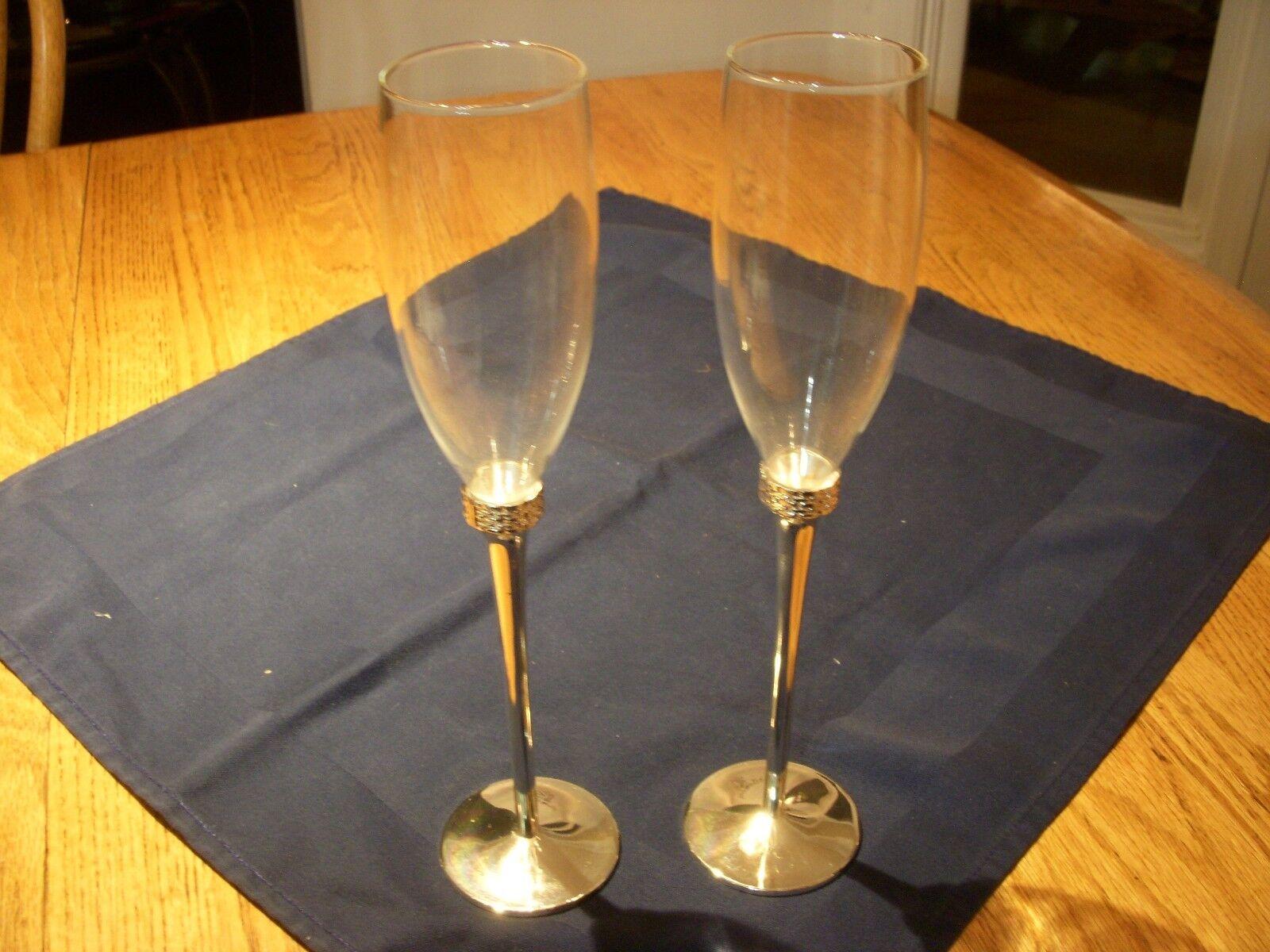 Beautiful Ralph Lauren plata Stemmed Crystal Toasting Champagne Flutes Set of 2
