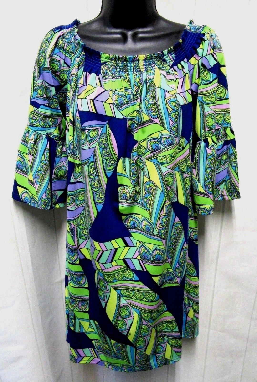 TRINA TURK Sz S New  bluee Purple Multi Print Off Shoulder Shift Dress A7