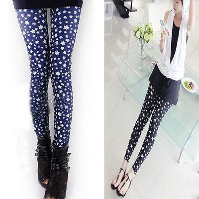 Fashion Trend Women Sexy Thin Star Print Pattern Leggings Black/Blue Tight Pants