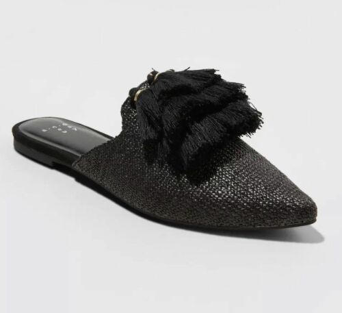 A New Day Black Antoinette Woven Mules Sz 8 Tassle Pointed Flats Shoe Slip On