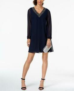 Betsy-amp-Adam-Women-039-s-Petite-Beaded-V-Neck-Chiffon-Shift-Dress-Size-12P-MSRP-199