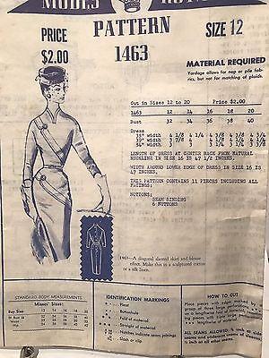 Vintage 1950's Modes Royal Elegant Dress Pattern Size 12 Old Stock