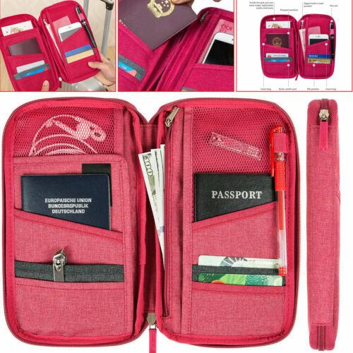 Passeport Porte-Documents Cartes RFID billets Portefeuille Pochette Famille Voyage Organisateur