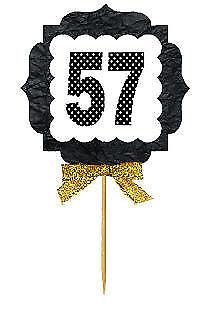 57th Birthday 12ct Anniversary Gold Ribbon Cupcake Food Decoration Picks