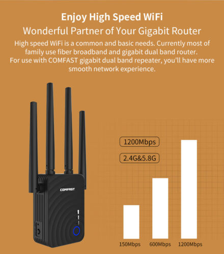 1200Mbps 5.8G Wireless Wifi Extender Repeater Router Long Range Signal Amplifier