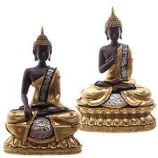 Thai Buddha Seated Gold Brown Crackled Glass Mosaic Ornament Buddhist Meditation