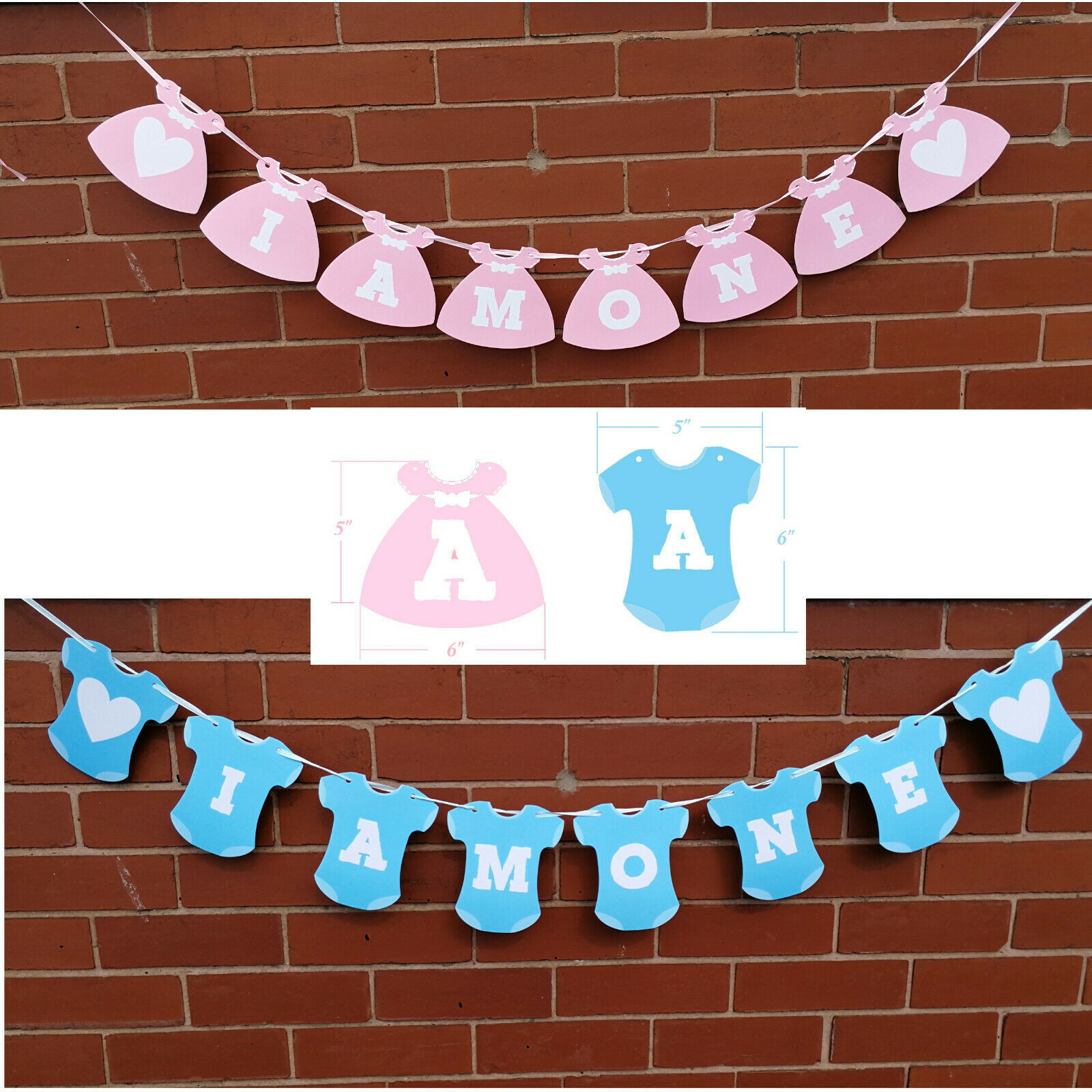 Vintage 1st Birthday Party Bunting Banner Baby Girl Pink Decoration I Am One SK