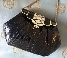 Vintage SASHA Evening Purse w/Alligator/Croc Leather Finish & Rhinestone Flap