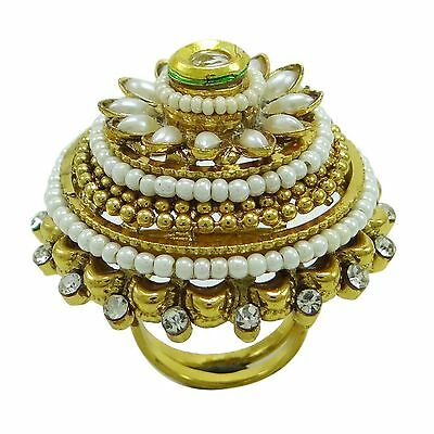 Indian Ethnic Bollywood Gold Plated CZ Stone Adjustable Ring Traditional Jewelry