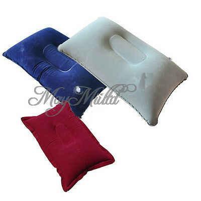 Holiday Folding Inflatable Pillow Suede Fabric Cushion Outdoor Camping Travel Q