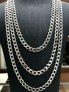 925-Sterling-Silver-Mens-Boys-Solid-Chain-Necklace-Flat-Curb-Various-Lengths