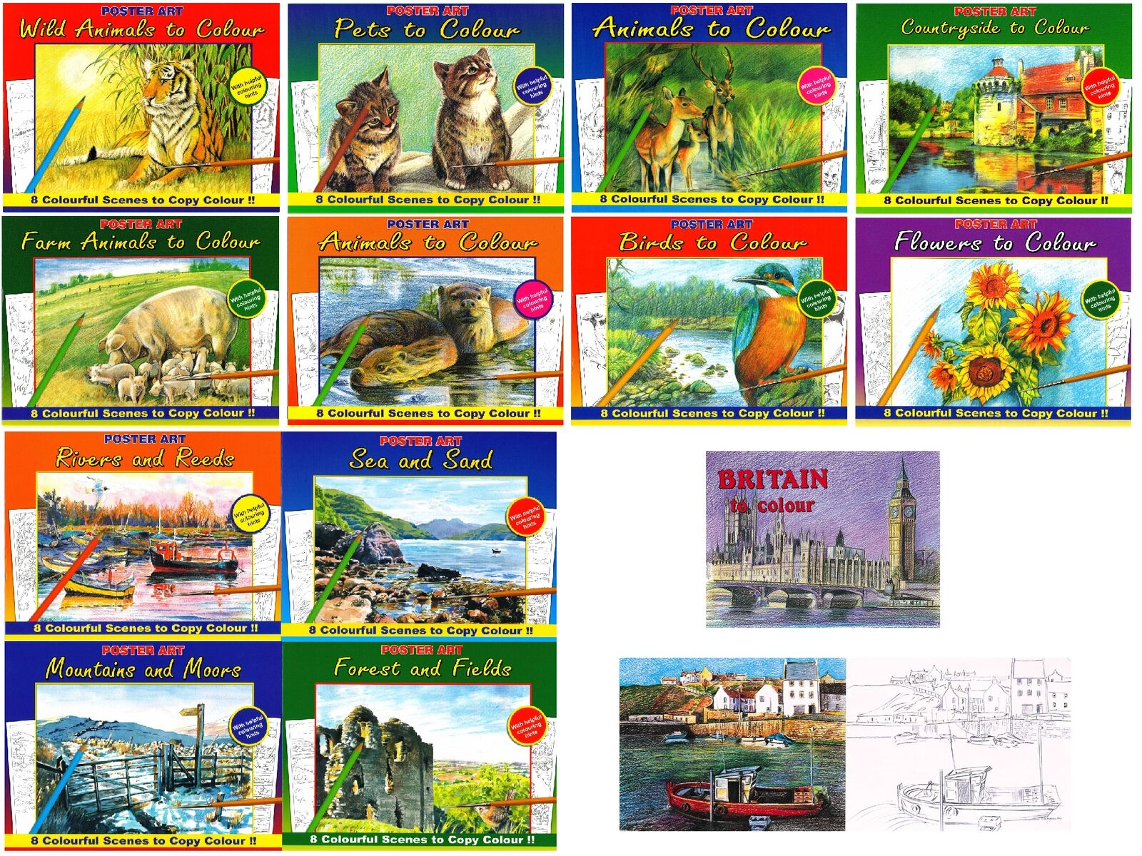2 Books Pictures Countryside to Colour Adult Colouring in Landscapes ...