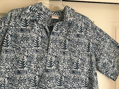 Go Barefoot Hawaiian Shirt XL Men's Pullover Reverse Print Cotton Blue Tapa