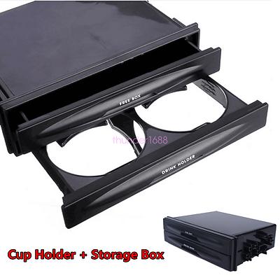 Universal Car Single//Double Din Radio Pocket Kit w//Drink-Cup Holder Storage Box